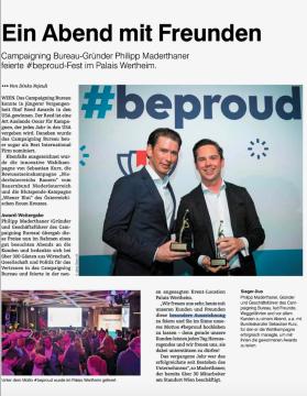 Campaigning Bureau-Gründer Philipp Maderthaner feierte #beproud-Fest im Palais Wertheim
