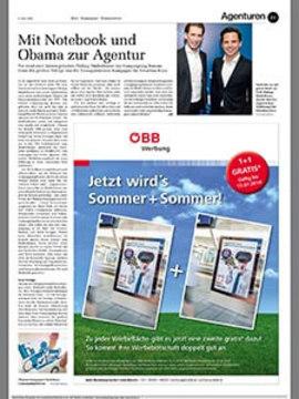 Mit Notebook und Obama zur Agentur